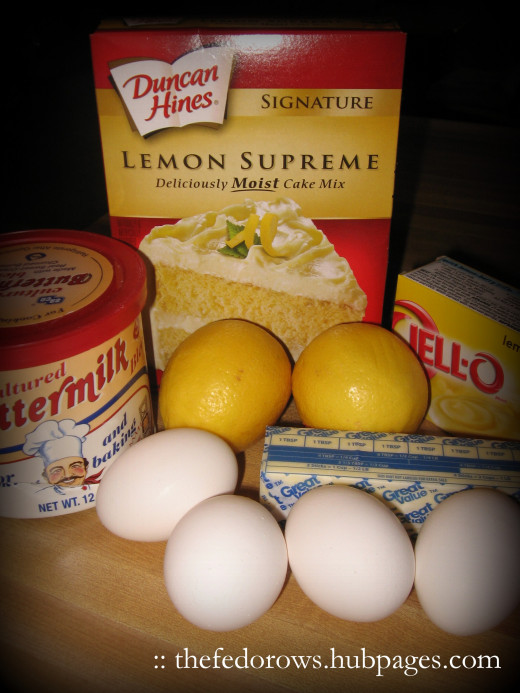Gather these ingredients to make Pastel de Limon Suprema (Lemon Supreme Cake) for Cinco de Mayo!
