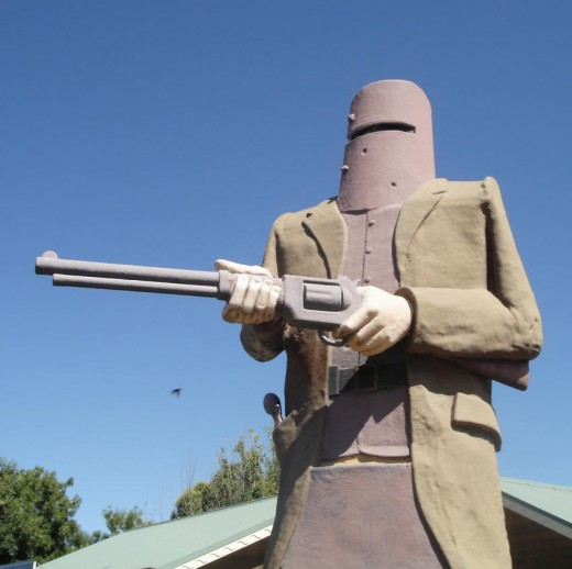 """Poor Ned you're better off Dead..."" Aussie Folk hero looms large at Glenrowan, Vic."