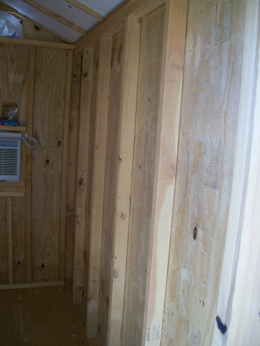 View from inside after siding installed.