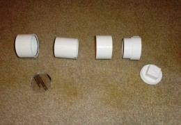 "Dry Fit parts using sequence in the picture: Connector, Lexan Plexiglass, 3"" PVC Section, Connector, Threaded Cap, Threaded Plug"