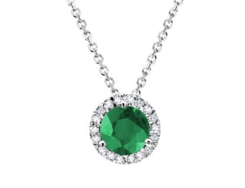 "1/2ct Oval Emerald Pendant in 14k White Gold, Free 18"" Necklace"