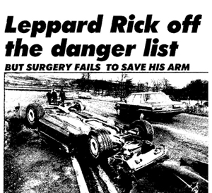 Newspaper clipping showing a picture of Rick Allen's Chevy Corvette which he crashed outside Sheffield on NYE' 83/84