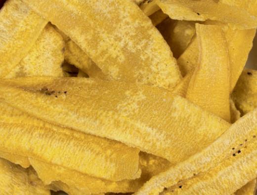 Dried bananas, eaten like potato chips