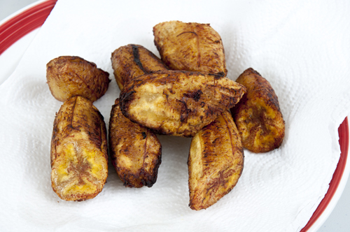 Platano pieces after first frying