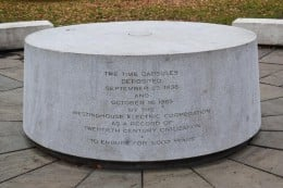 The memorial under which the time capsules are buried.