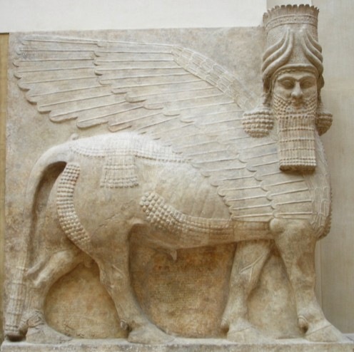 A Lamassu (human-headed winged-bull) from the Palace of Sargon II at Dur Sharrukin