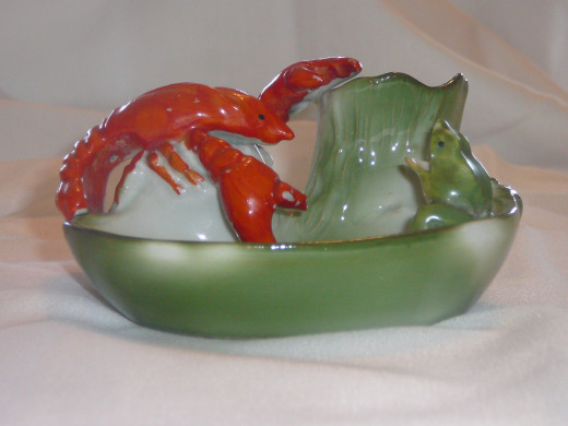 "This adorable pin dish also includes a frog. It's the only one of its kind that I've seen on ebay.   41/2"" x 3"". $75. Rare."