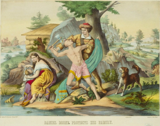 A stylized painting of Daniel Boone protecting his family, in earlier years.