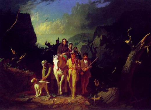 Classic painting of Daniel Boone leading settlers through the Cumberland Gap