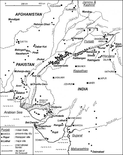 Ruined Harappan settlements across the bed of Ghaggar river.