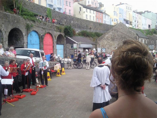 St Mary's Tenby Handbell Ringers play for the arrival of the Bride