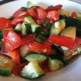 Tomato Salad with Vinaigrette and Cucumbers from the Garden