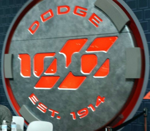 Dodge 100th anniversary sign, New York Auto Show, 2014