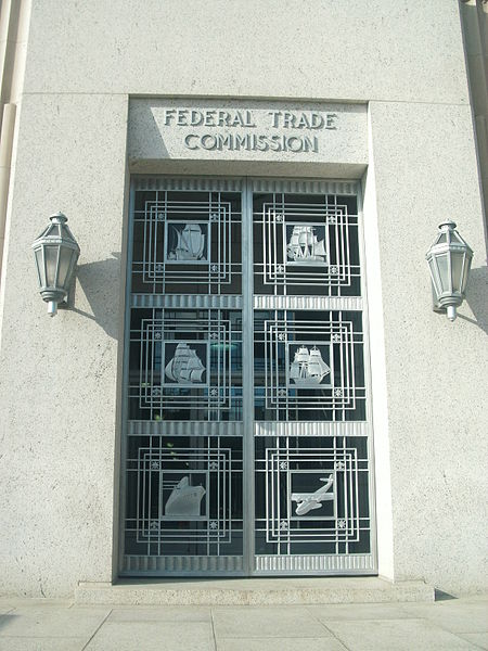 Door of Federal Trade Commission building, Washington, D.C. United States of America