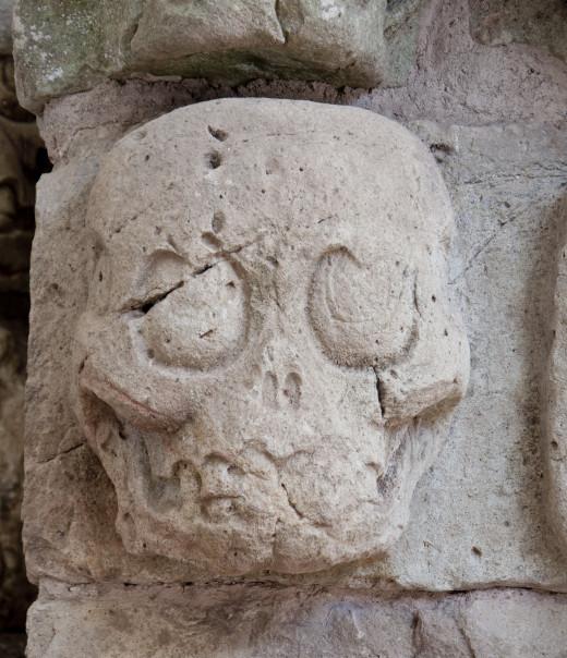 Mayan skull sculpture.