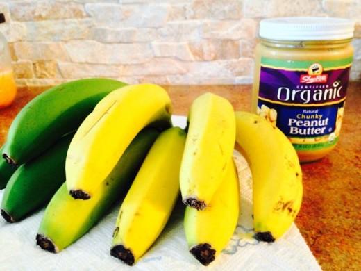 Bananas and Organic Peanut Butter. I like to use Shoprite's Organic Chunky Brand.