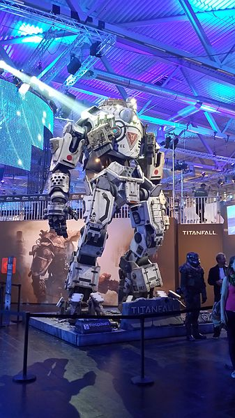Promotional mecha for Titanfall video game presented at Gamescom 2013 in Cologne, Germany.  Photo by Holek