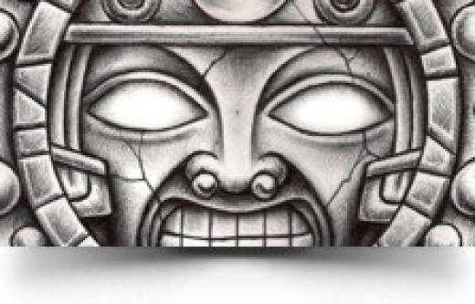 Aztec Sun Taatto Art