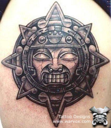 Aztec Sun Tattoo Dsign