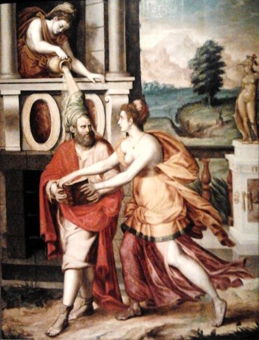 A jealous Xanthippe dousing Socrates