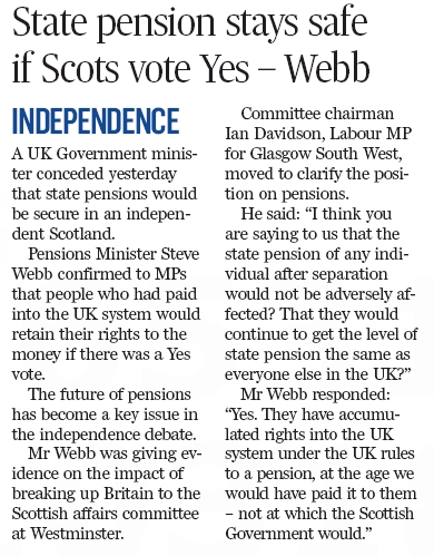 Aberdeen Press & Journal with 'pensions safe' story