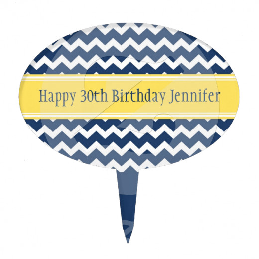 Customizable name and year birthday cake topper in chic dark navy blue and bright lemon yellow with  retro chevron zigzags stripes.