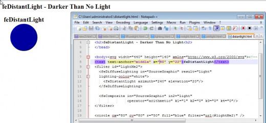 The image is darker when feDistantLight is invoked.