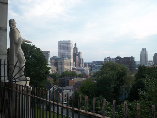 The view from Prospect Terrace, and the statue of Roger Williams, the state's founder.