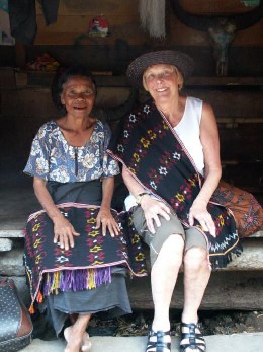 Ibu and Ibu wearing ikat the hand woven sumbanese material