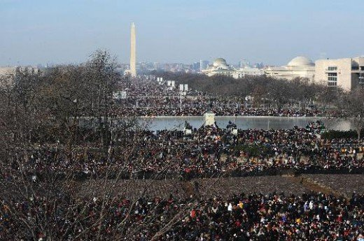 Does This Represent Hope.  Millions Gather On Washington Mall To Watch President Obama Take The Oath Of Office