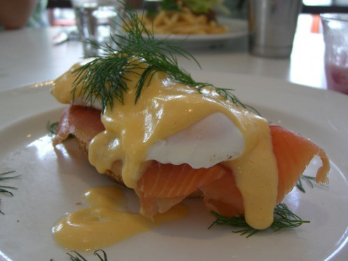 Eggs Benedict with salmon, a lovely breakfast treat for any mother!
