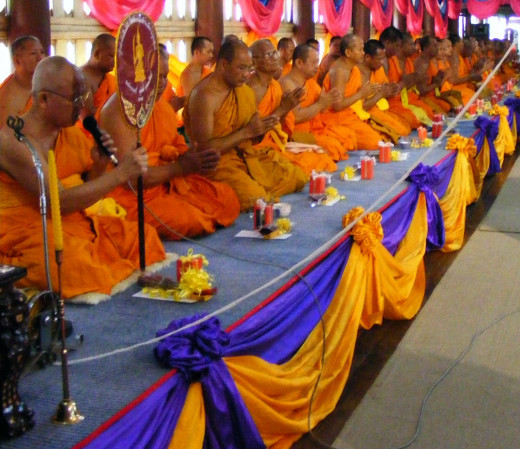 Buddhist Monks Chanting Om Mani Padme Hum.