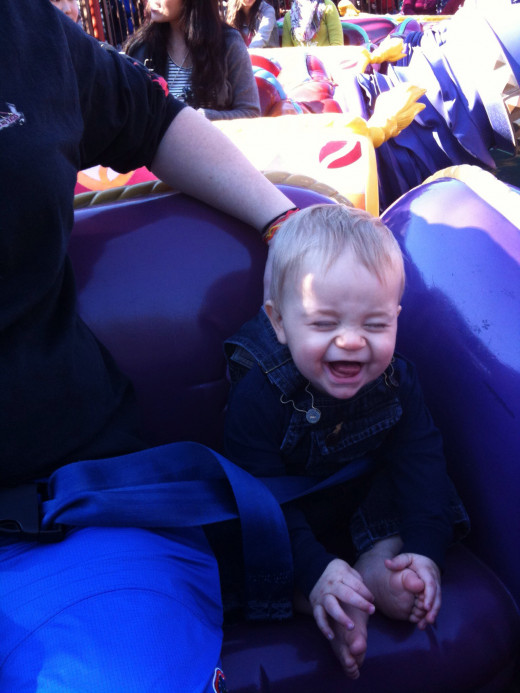 You can't tell me Buddy isn't having a great time... He's not even 1 year old here. He was stoked to ride Aladdin's Magic Carpets (MK).