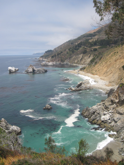 The view north along the coast, standing on the old foundation of the house near Julia Pfeiffer Burns waterfall.