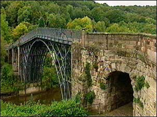 The world's first iron structure ever built, the Iron Bridge. In  Shropshire, UK Open to traffic  1781-1934
