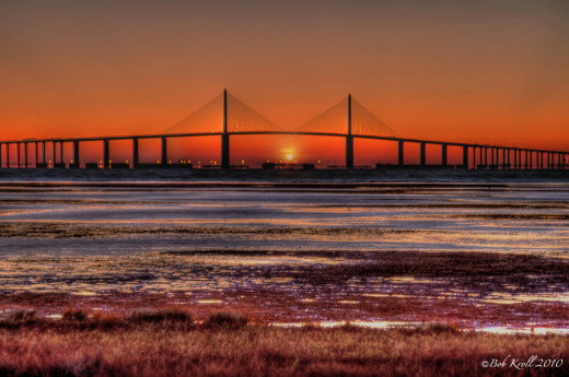 Sunrise photo of Florida's Sunshine State Skyway from Ft DeSoto.