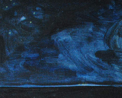 An example of oil paint thinned with linseed oil and applied to canvas