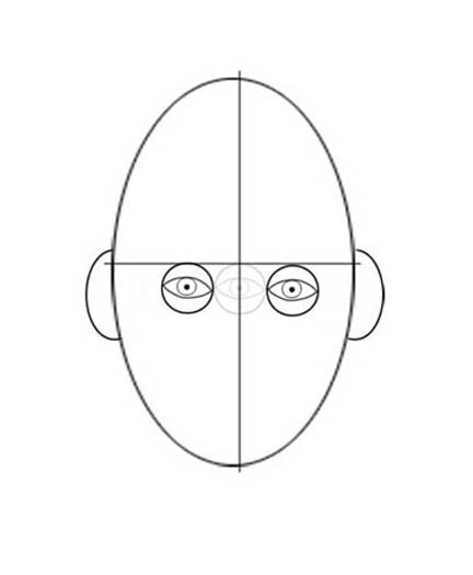 As you've examined, the eye in the center is lightly drawn to show you the space between the eyes.