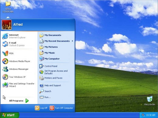 The vintage look of  Windows XP desktop and Start menu