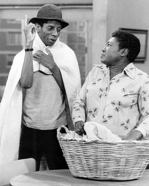 Publicity photo from Good Times. Pictured are Jimmie Walker (J.J.) and Esther Rolle (Florida).