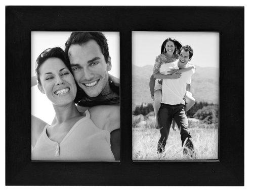 "Linear Black Picture Frame 3.5x5"" Split Double"