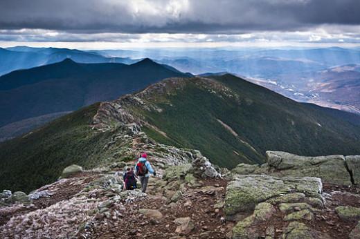 The Appalachian Trail along the crest of Franconia Ridge