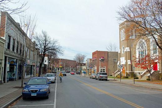 A view of the main street (Rt. 9) in Bennington, VT.