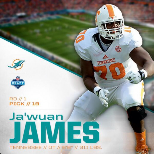 Ja'Wuan James will be reunited with former teammate Dallas Thomas who was selected in the third round of last year's draft by the Miami Dolphins.