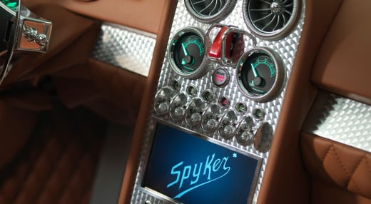A close-up of the center-console of Spyker's B6 Venator