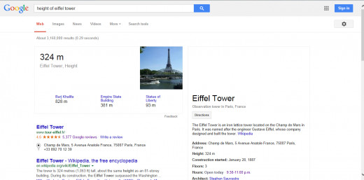 Asking numerical questions such as the height of the Eiffel Tower can also be done.