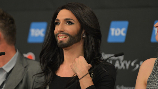 Conchita Wurst, Impressions from the second Semi-Final Winners Press Conference.