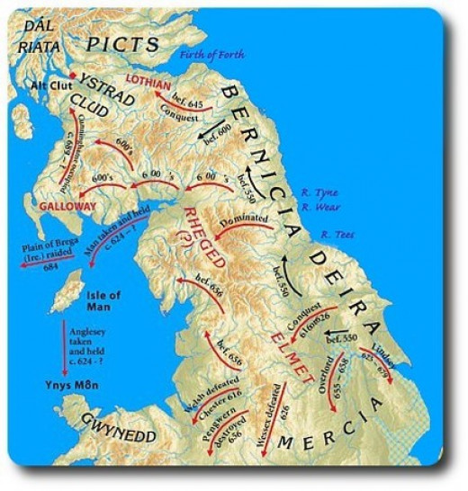 The Angles had arrived in Britain by the mid-5th Century. By the mid-7th Century they had already carved out a mini empire