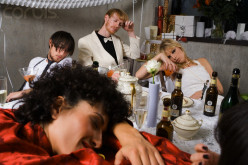 The bride, not a guest, falls asleep drunk at her own wedding reception