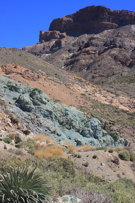 Los Azulejos, a distinctive greenish outcrop on the Las Canadas escarpment